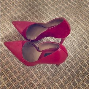 Zara D'Orsay red suede and leather pump